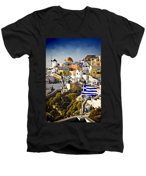 Oia And A Greek Flag Men's V-Neck T-Shirt by Meirion Matthias