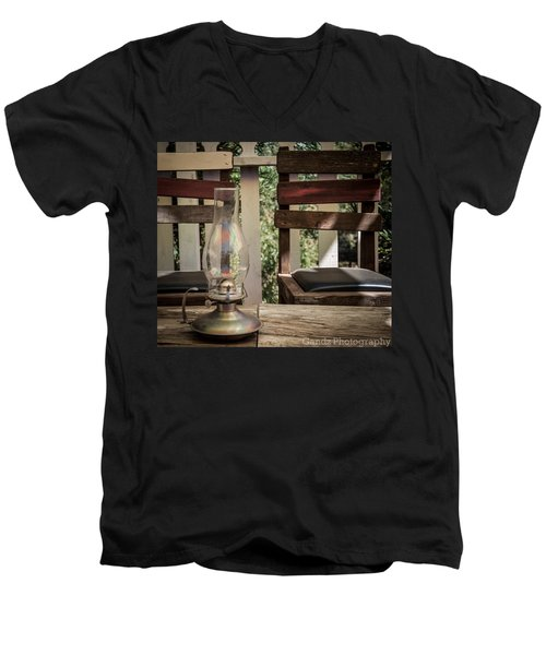 Men's V-Neck T-Shirt featuring the digital art Oil Lamp 2 by Gandz Photography