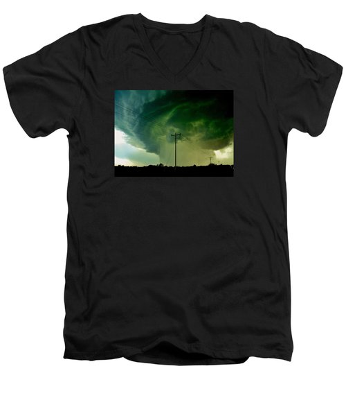 Men's V-Neck T-Shirt featuring the photograph Oklahoma Mesocyclone by Ed Sweeney