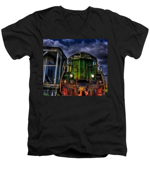 Men's V-Neck T-Shirt featuring the photograph Old 6139 Locomotive by Thom Zehrfeld
