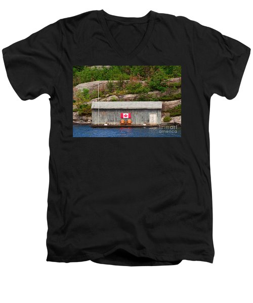Old Boathouse With Two Muskoka Chairs Men's V-Neck T-Shirt by Les Palenik