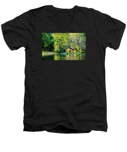 Old Cabin By The Pond Men's V-Neck T-Shirt