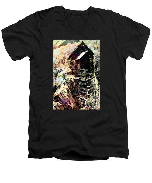 Men's V-Neck T-Shirt featuring the photograph Old Crystal Mill Crystal Colorado by Paula Ayers