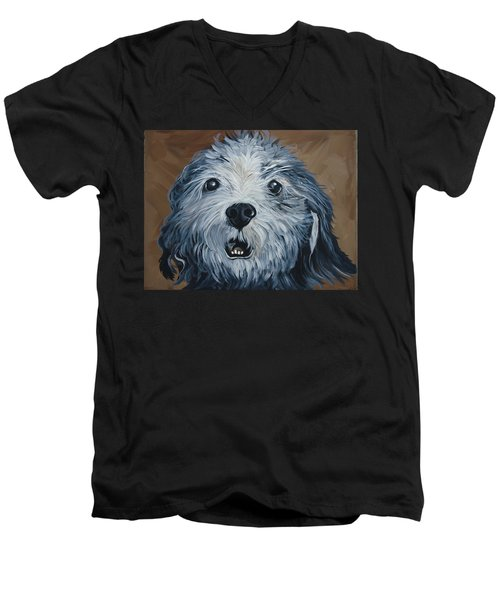Men's V-Neck T-Shirt featuring the painting Old Dogs Are The Best Dogs by Leslie Manley