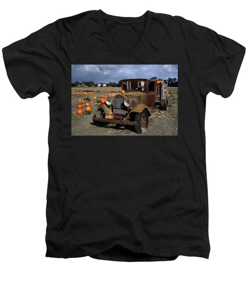 Men's V-Neck T-Shirt featuring the photograph Old Farm Truck by Michael Gordon