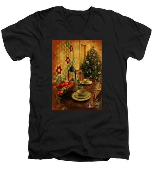 Men's V-Neck T-Shirt featuring the photograph Old Fashion Christmas At Atalaya by Kathy Baccari