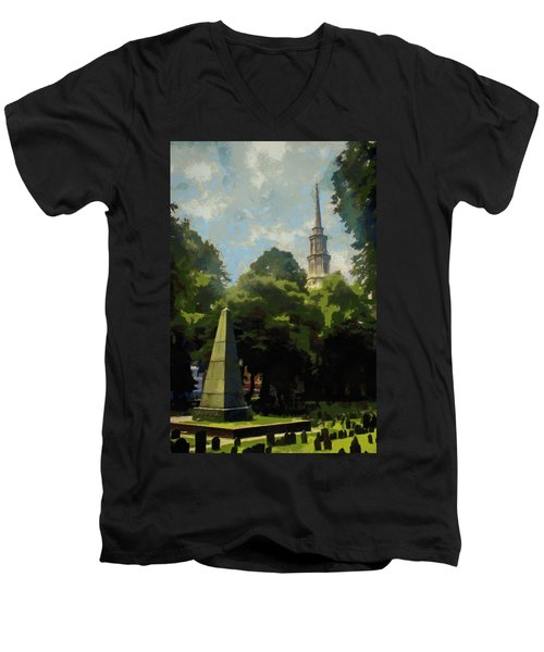 Men's V-Neck T-Shirt featuring the painting Old Granery Burying Ground by Jeff Kolker