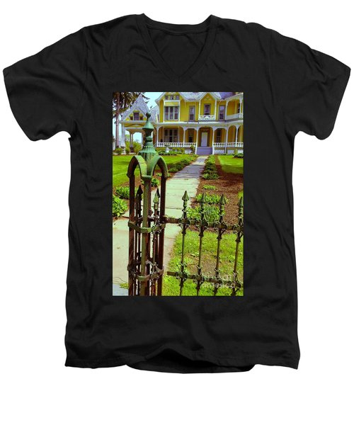 Men's V-Neck T-Shirt featuring the photograph Old Green Wrought Iron Gate by Becky Lupe