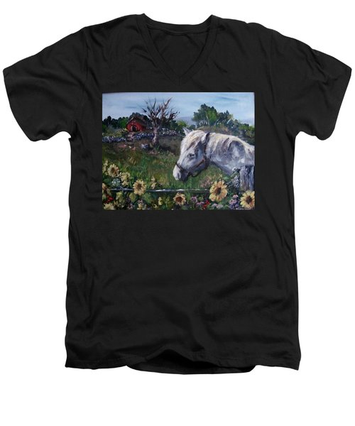 Men's V-Neck T-Shirt featuring the painting Old Grey Mare by Megan Walsh