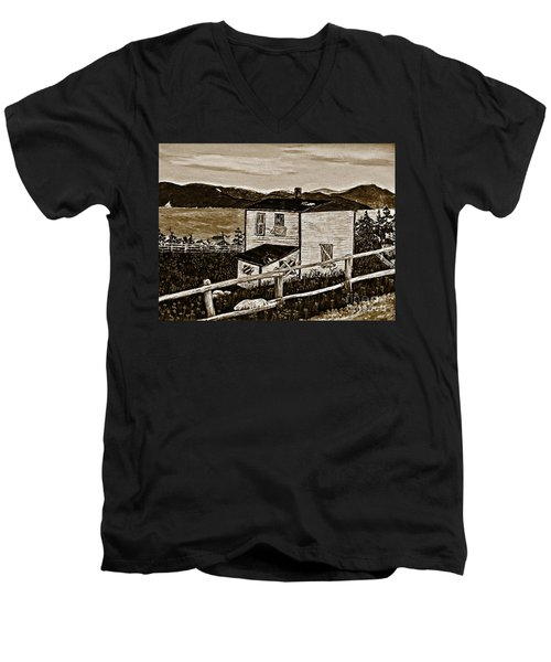 Old House In Sepia Men's V-Neck T-Shirt by Barbara Griffin
