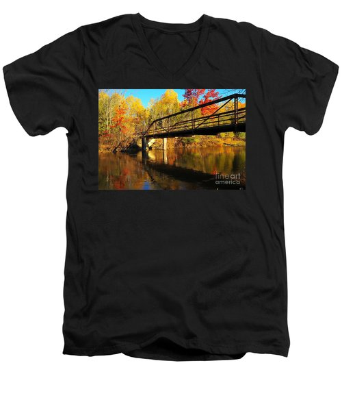 Men's V-Neck T-Shirt featuring the photograph Historic Harvey Bridge Over Manistee River In Wexford County Michigan by Terri Gostola