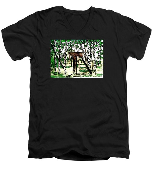 Men's V-Neck T-Shirt featuring the painting Old Obstacles by Denise Tomasura