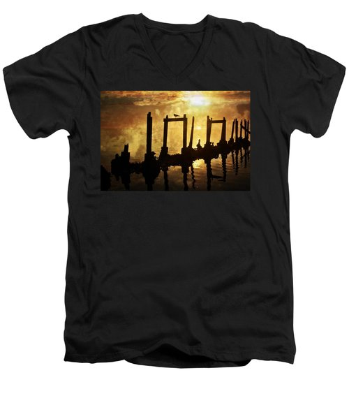 Men's V-Neck T-Shirt featuring the photograph Old Pier At Sunset by Marty Koch