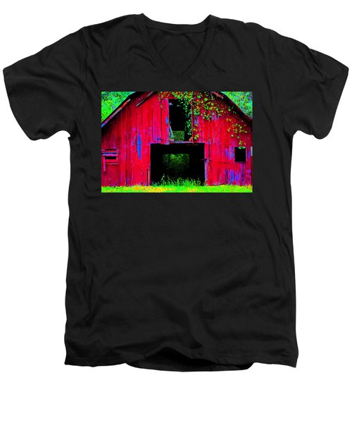Men's V-Neck T-Shirt featuring the photograph Old Red Barn Iv by Lanita Williams