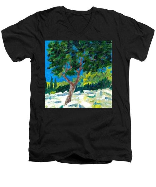 Old Ruins At Rhodes Men's V-Neck T-Shirt
