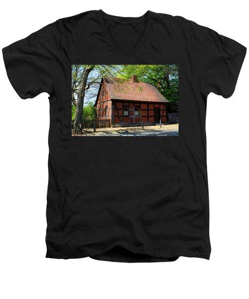 Old Salem Scene 3 Men's V-Neck T-Shirt by Kathryn Meyer