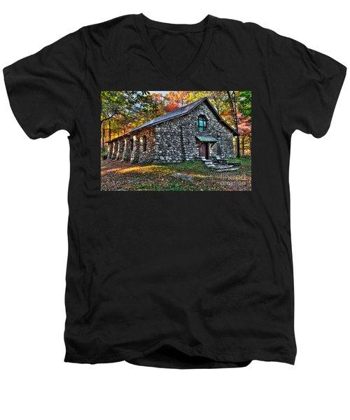 Old Stone Lodge Men's V-Neck T-Shirt by Anthony Sacco