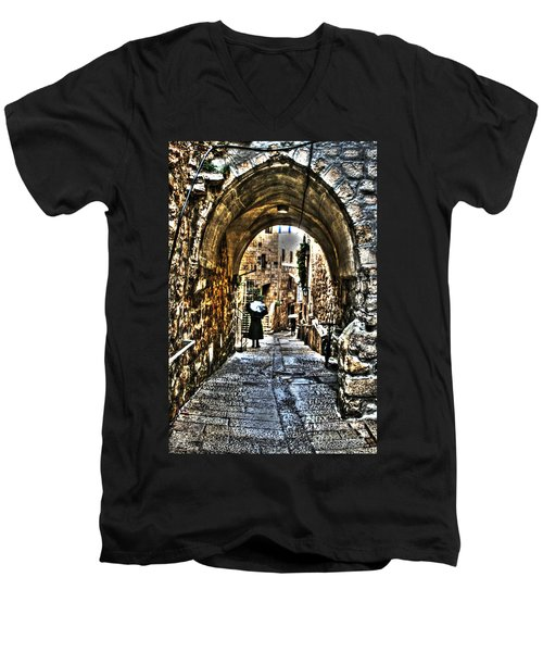 Men's V-Neck T-Shirt featuring the photograph Old Street In Jerusalem by Doc Braham