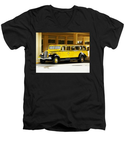 Old Time Yellowstone Bus Men's V-Neck T-Shirt