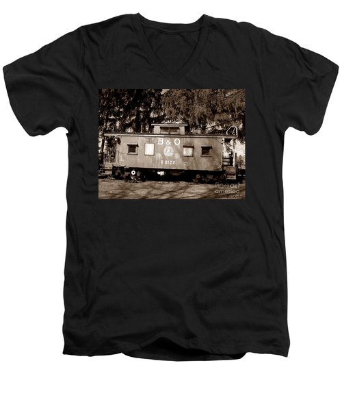Men's V-Neck T-Shirt featuring the photograph Old Timer by Sara  Raber
