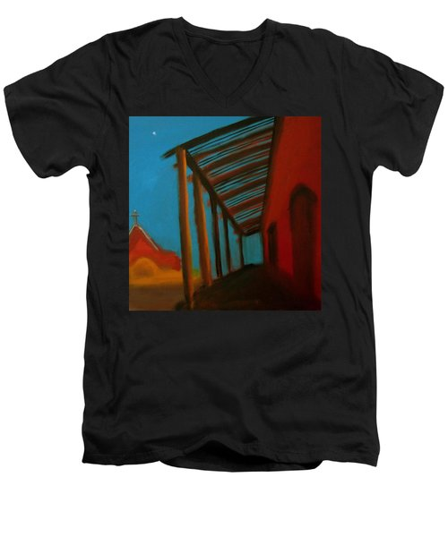Men's V-Neck T-Shirt featuring the painting Old Town by Keith Thue