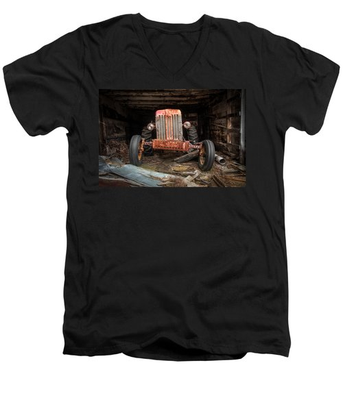 Men's V-Neck T-Shirt featuring the photograph Old Tractor Face by Gary Heller