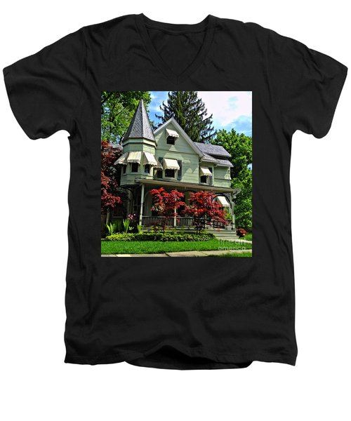 Men's V-Neck T-Shirt featuring the photograph Old Victorian With Awnings by Becky Lupe