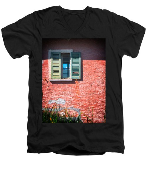 Men's V-Neck T-Shirt featuring the photograph Old Window With Reflection by Silvia Ganora