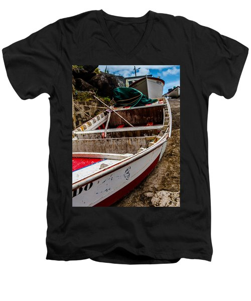 Old Wooden Fishing Boat On Dock  Men's V-Neck T-Shirt