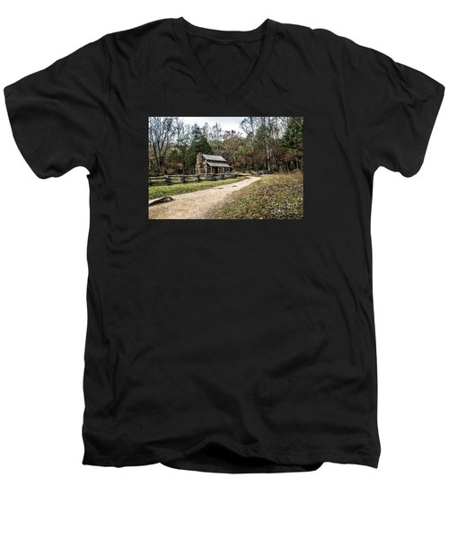 Men's V-Neck T-Shirt featuring the photograph Oliver's Log Cabin by Debbie Green