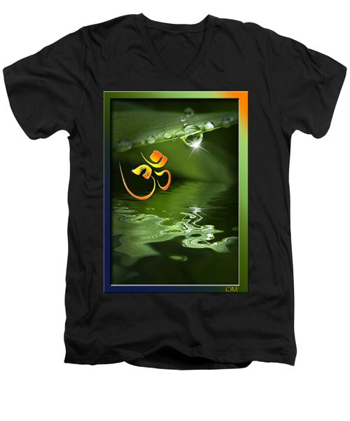 Men's V-Neck T-Shirt featuring the mixed media Om On Green With Dew Drop by Peter v Quenter