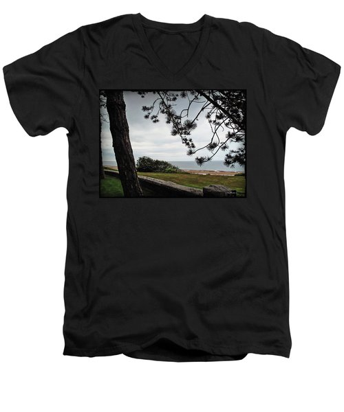 Omaha Beach Under Trees Men's V-Neck T-Shirt