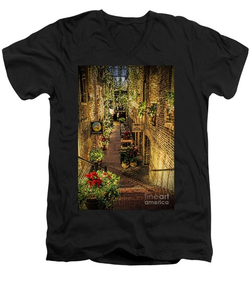 Omaha's Old Market Passageway Men's V-Neck T-Shirt by Elizabeth Winter