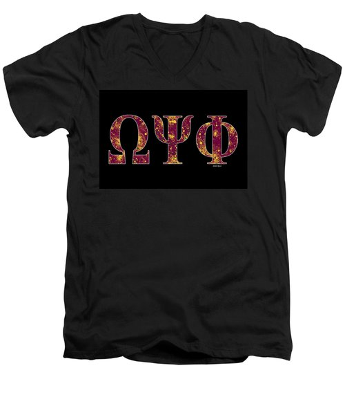 Men's V-Neck T-Shirt featuring the digital art Omega Psi Phi - Black by Stephen Younts