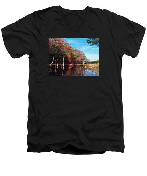 On Schoolhouse Pond Brook Men's V-Neck T-Shirt by Joy Nichols