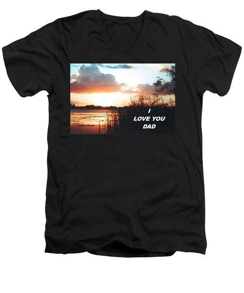 Lake Deer At Sunrise Men's V-Neck T-Shirt by Belinda Lee