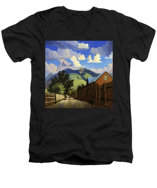 Men's V-Neck T-Shirt featuring the painting On The Road To Lili's by Art James West