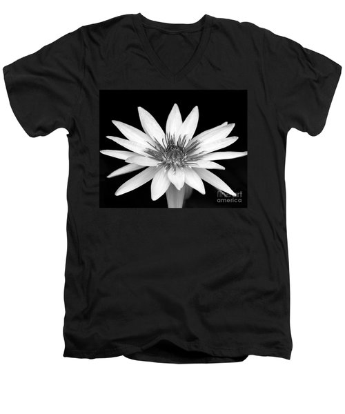 One Black And White Water Lily Men's V-Neck T-Shirt