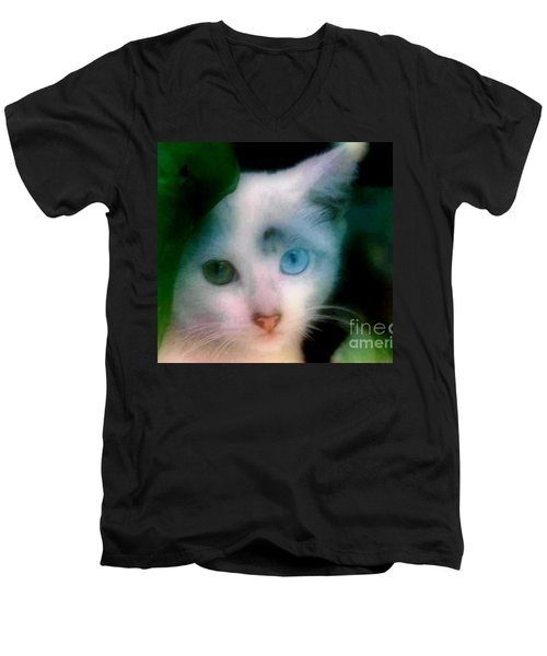 Men's V-Neck T-Shirt featuring the photograph One Blue One Green  by Michael Hoard