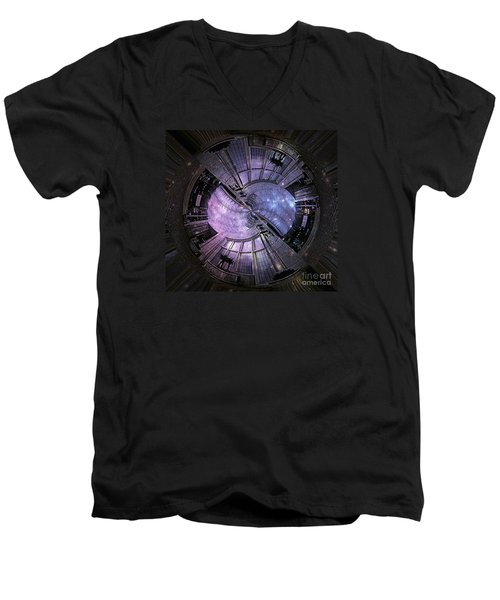 One Bulb Out In A Swirl With A Galaxy Men's V-Neck T-Shirt