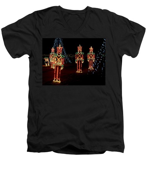 One Crooked Toy Soldier Men's V-Neck T-Shirt by Rodney Lee Williams