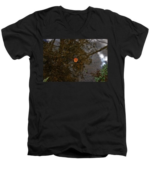 Men's V-Neck T-Shirt featuring the photograph One Leaf by Jeremy Rhoades