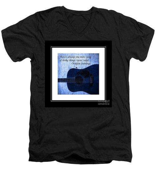 One More Way - Waylon Jennings Men's V-Neck T-Shirt by Barbara Griffin