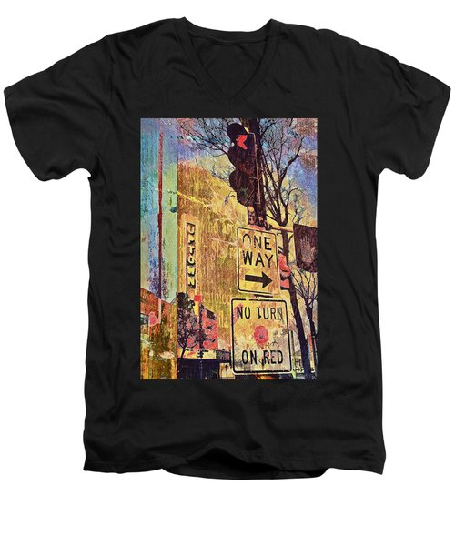 One Way To Uptown Men's V-Neck T-Shirt by Susan Stone