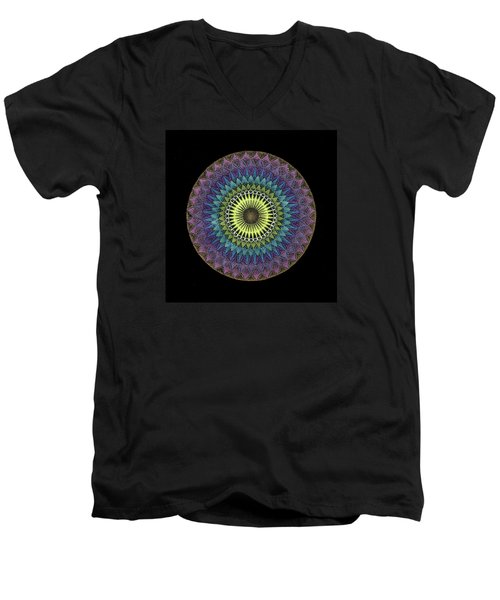 Men's V-Neck T-Shirt featuring the painting Oneness by Keiko Katsuta