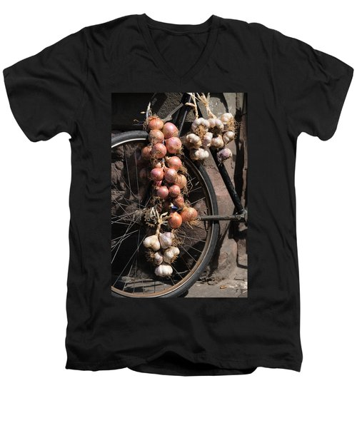 Onions And Garlic On Bike  Men's V-Neck T-Shirt by Jeremy Voisey