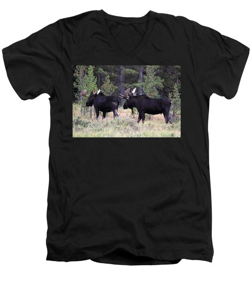 Men's V-Neck T-Shirt featuring the photograph Only A Step Behind by Shane Bechler