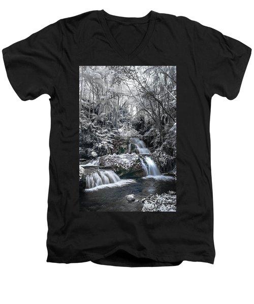 Onomea Falls In Infrared 2 Men's V-Neck T-Shirt