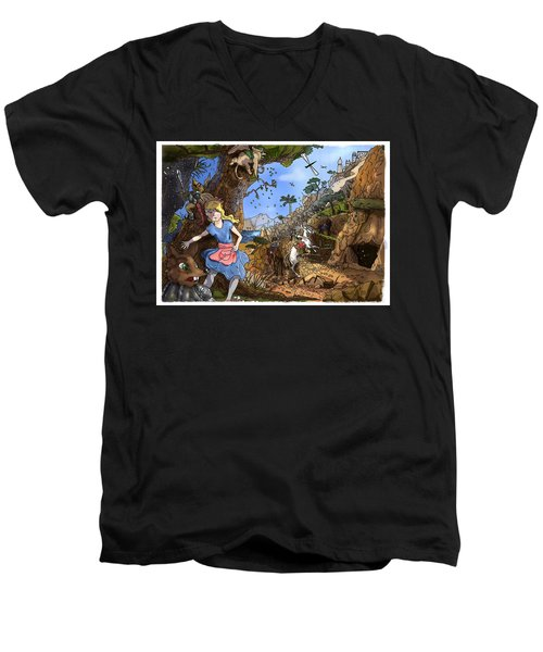 Men's V-Neck T-Shirt featuring the painting Open Sesame by Reynold Jay