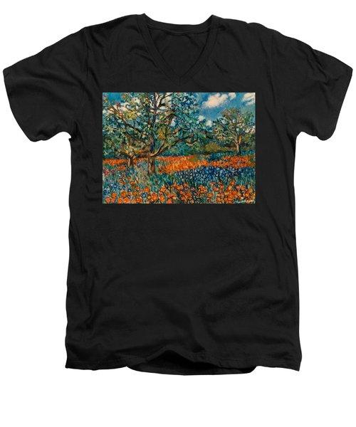 Orange And Blue Flower Field Men's V-Neck T-Shirt